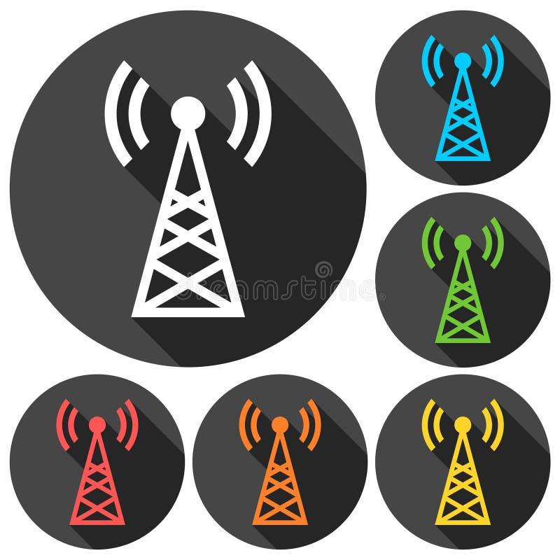 Icone semplici del trasmettitore messe con ombra lunga illustrazione di stock