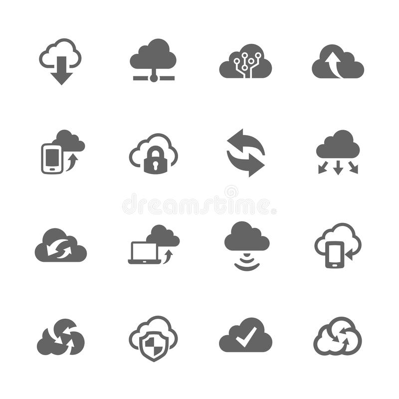 Icone semplici della nuvola del computer illustrazione di stock