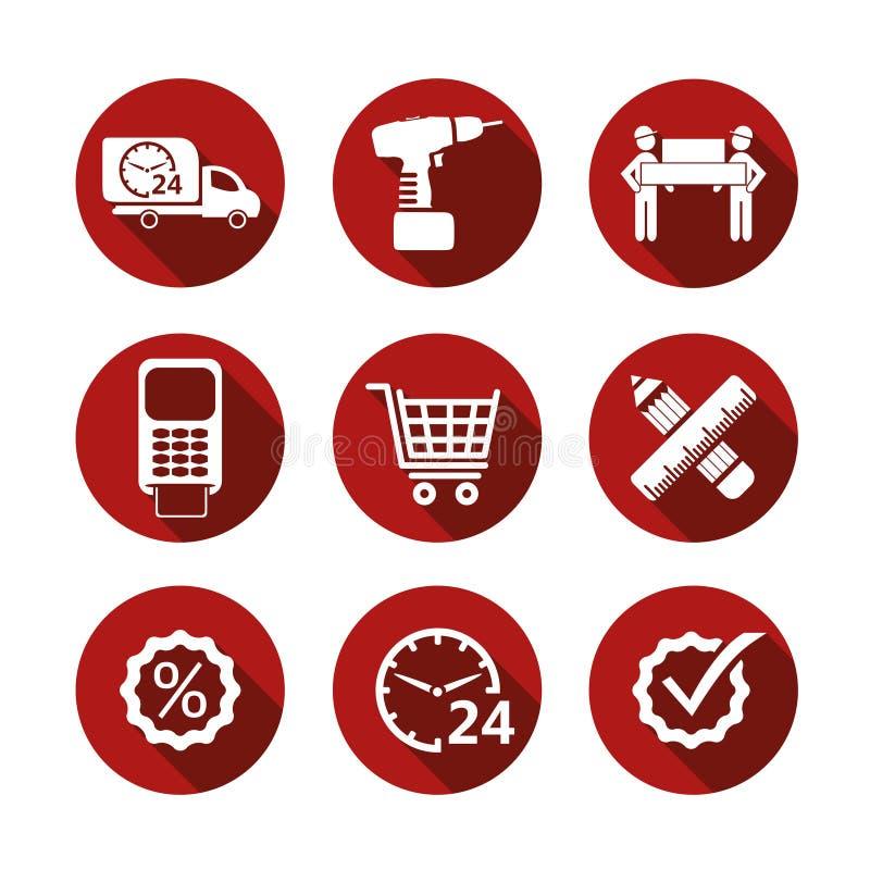 Icone semplici di acquisto di vettore di base illustrazione vettoriale