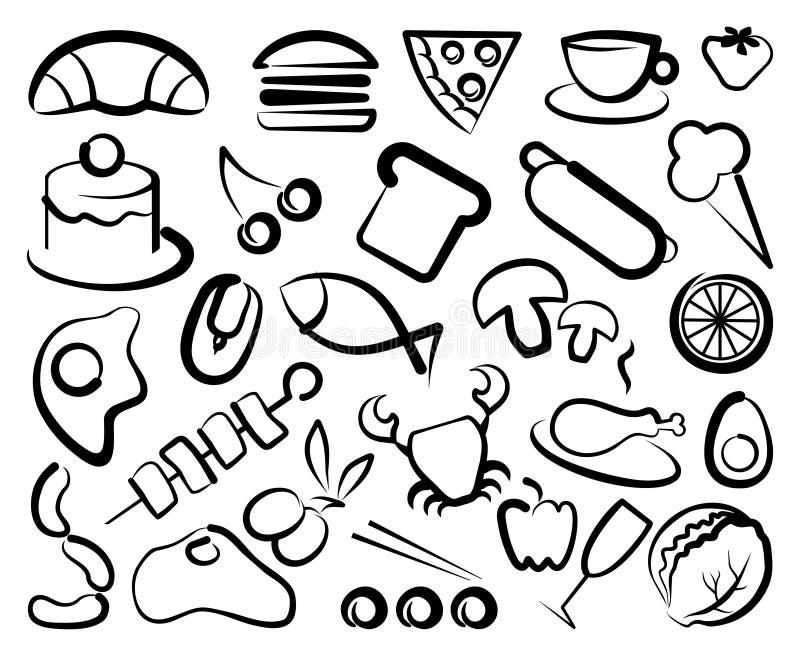 Icone semplici di alimento illustrazione di stock