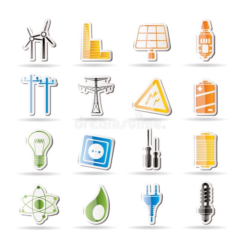 Icone semplici di elettricità, di potenza e di energia illustrazione di stock