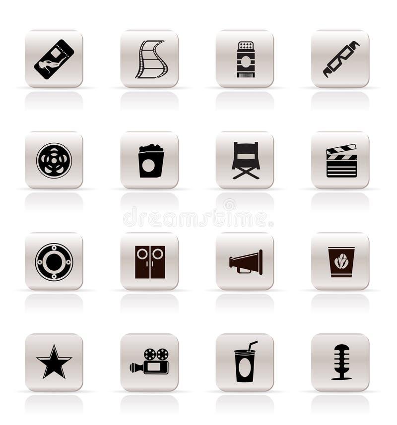 Icone semplici di film e del cinematografo illustrazione vettoriale