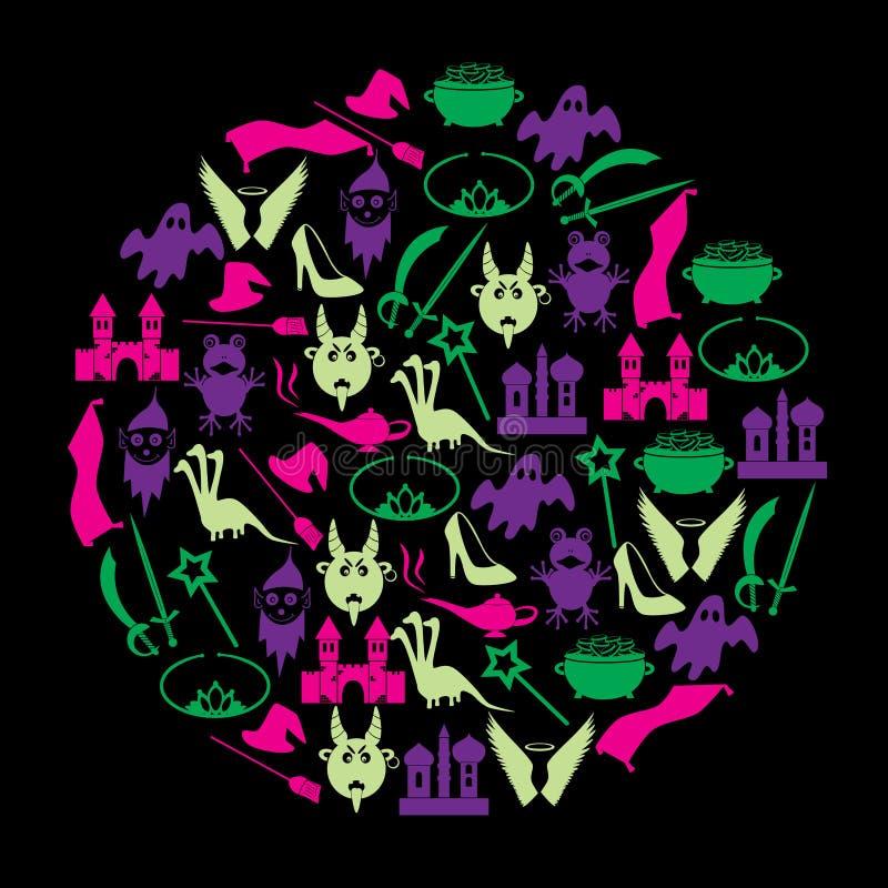 Icone semplici di tema di fiabe di colore nel cerchio royalty illustrazione gratis