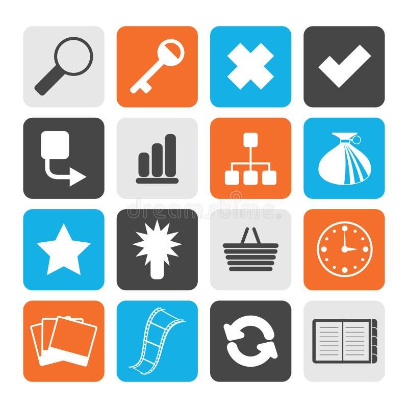 Icone semplici nere del sito Web e di Internet illustrazione vettoriale
