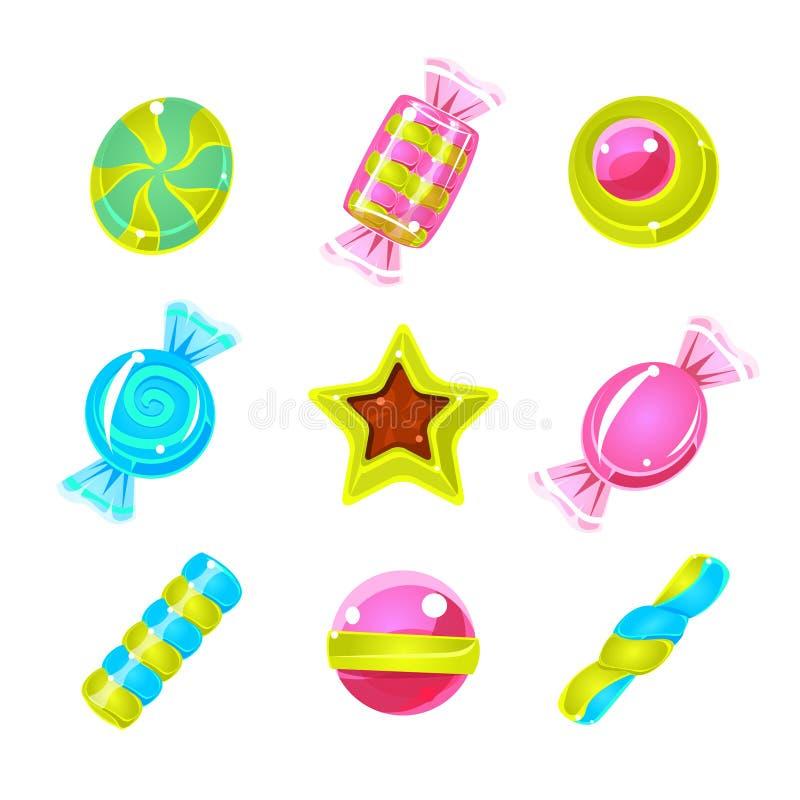 Icone semplici sveglie variopinte dure di Candy messe illustrazione di stock