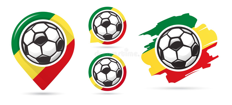 Icone senegalesi di vettore di calcio Obiettivo di calcio Insieme delle icone di calcio illustrazione vettoriale