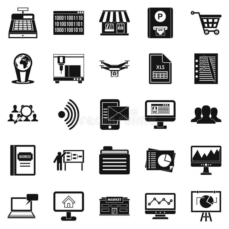 Icone senza contatto messe, stile semplice di pagamento illustrazione di stock