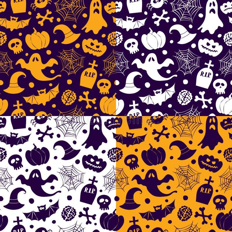 Icone senza cuciture dei modelli di vettore di Halloween illustrazione di stock