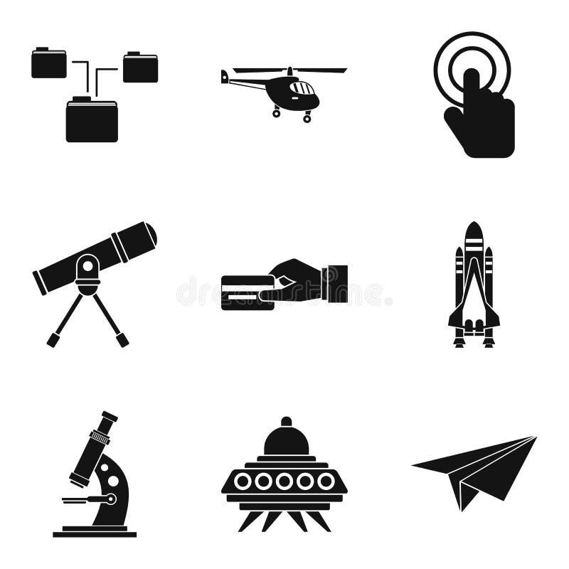 Icone senza fili messe, stile semplice di tecnologia della comunicazione illustrazione di stock