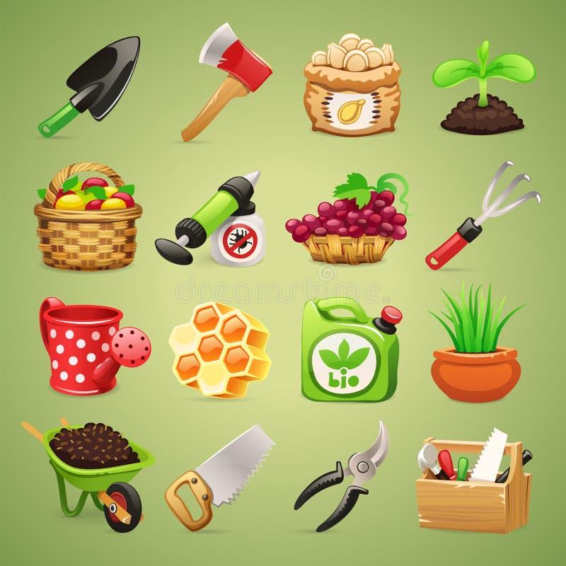 Icone Set1.1 degli strumenti degli agricoltori illustrazione di stock
