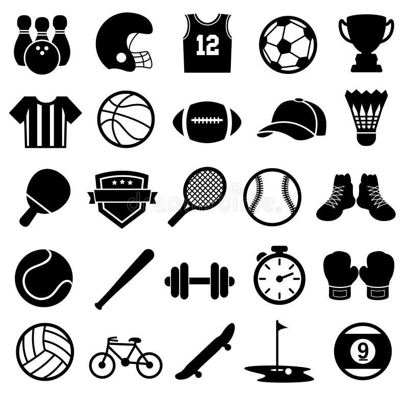 Icone, siluetta, sport e forma fisica di sport illustrazione di stock