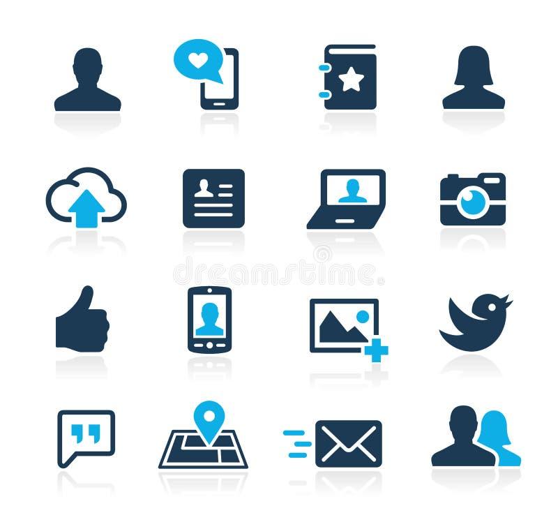 Icone sociali Azure Series di web royalty illustrazione gratis