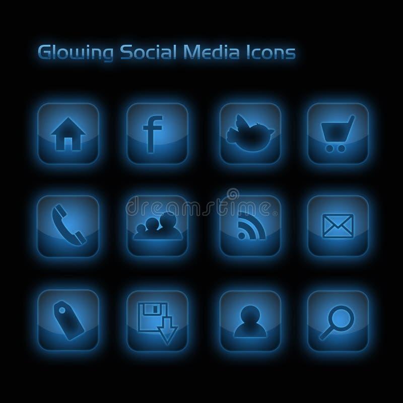 Icone sociali d'ardore di media dell'azzurro illustrazione vettoriale