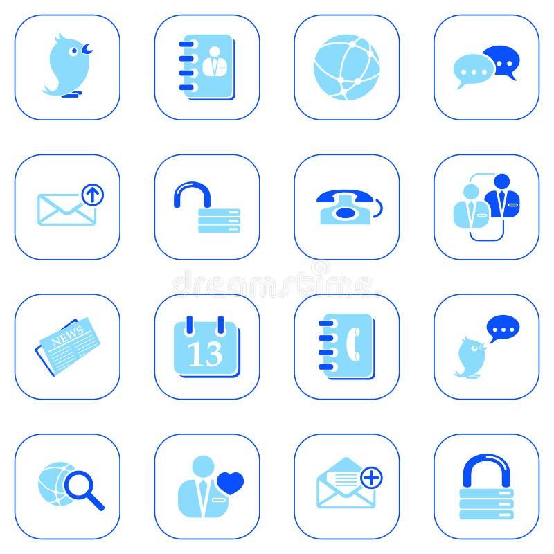 Icone sociali del media&blog - serie blu illustrazione di stock