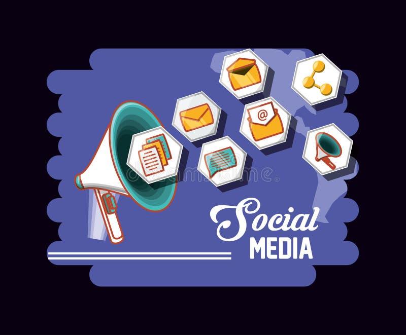 Icone sociali del megafono di media di vendita royalty illustrazione gratis