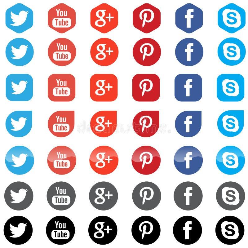 Icone sociali di App di media illustrazione vettoriale