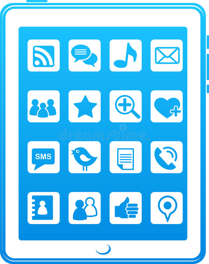 Icone sociali di media del telefono astuto blu illustrazione vettoriale