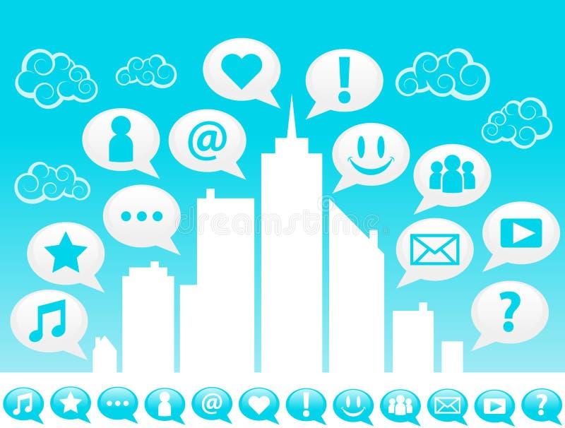 Icone sociali di media della città illustrazione vettoriale