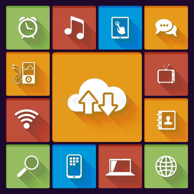 Icone sociali di media della nuvola illustrazione di stock