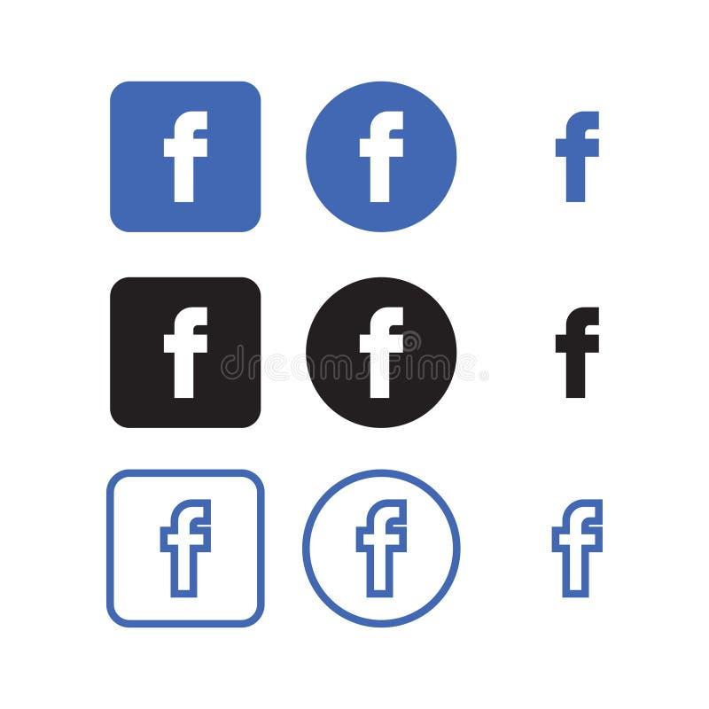Icone sociali di media di Facebook royalty illustrazione gratis