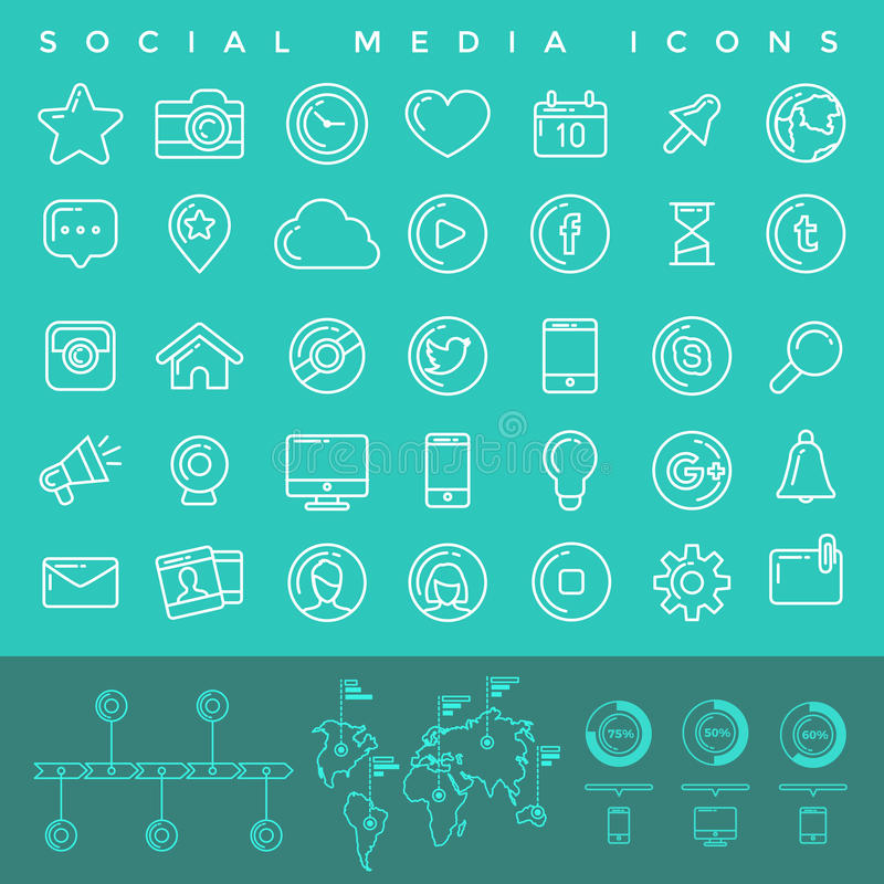 Icone sociali di media impostate illustrazione di stock