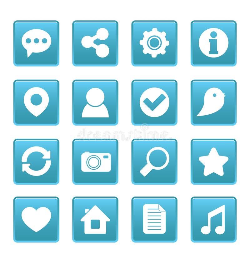 Icone sociali di media sul quadrato blu illustrazione di stock