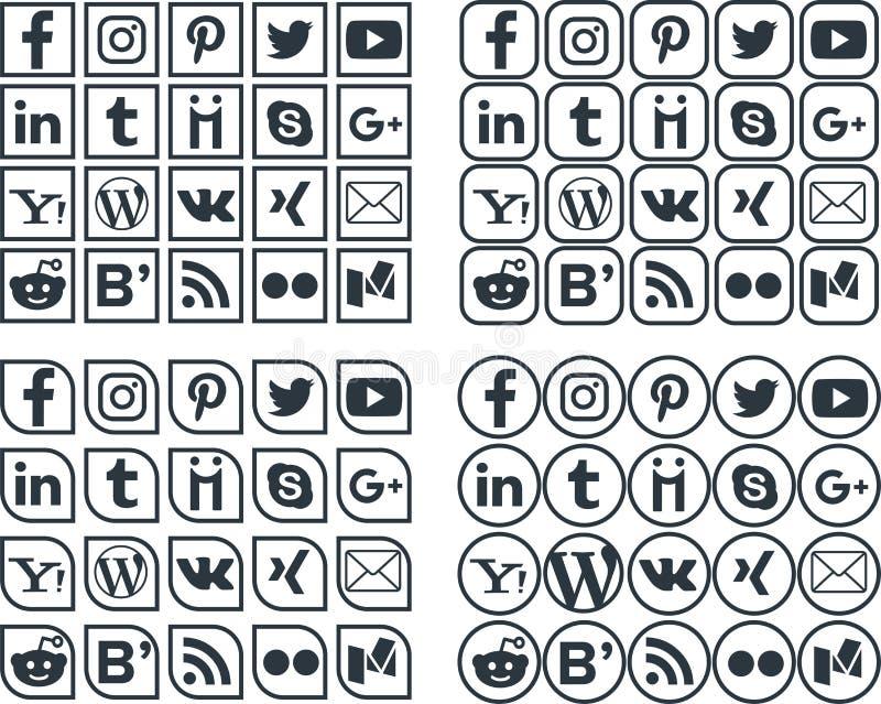 Icone sociali 2 di media royalty illustrazione gratis