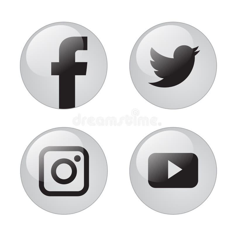 Icone sociali popolari di media illustrazione vettoriale