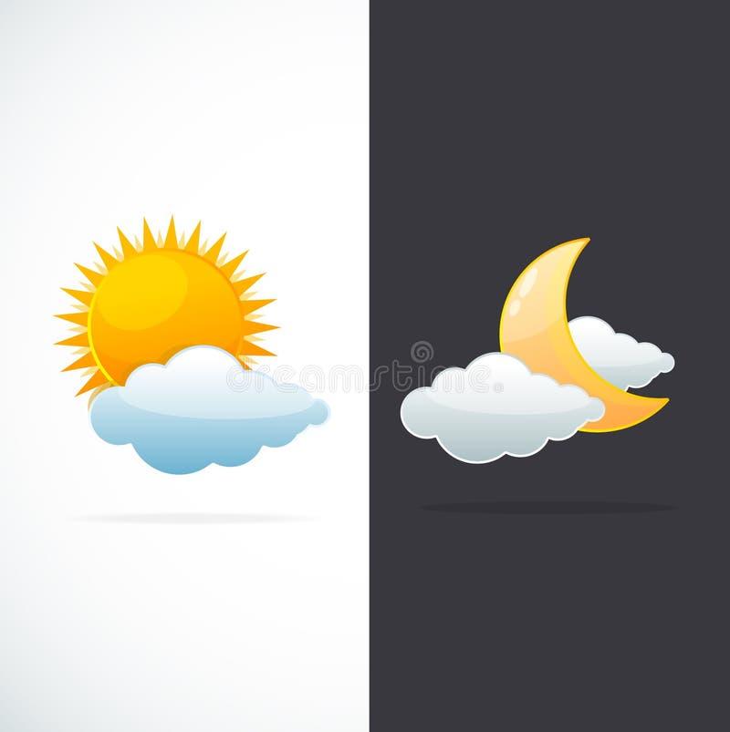 Icone sole e luna del tempo di vettore royalty illustrazione gratis