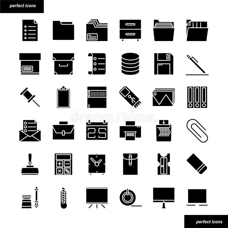Icone solide degli articoli per ufficio messe fotografia stock libera da diritti
