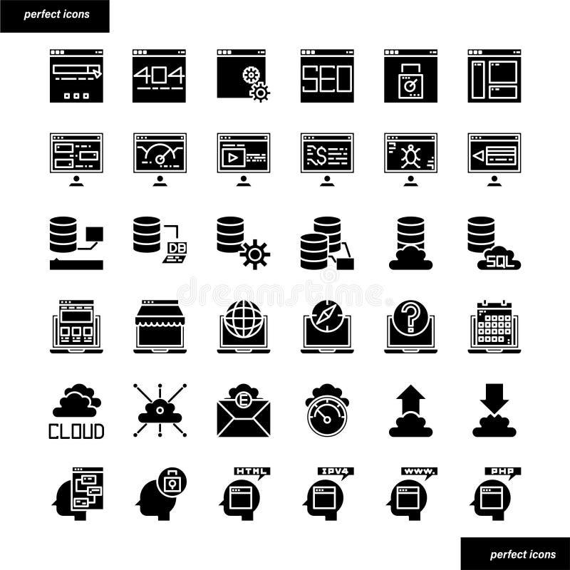 Icone solide dell'interfaccia e del browser messe fotografia stock