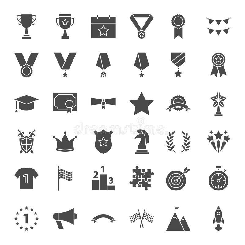 Icone solide di web del premio illustrazione di stock