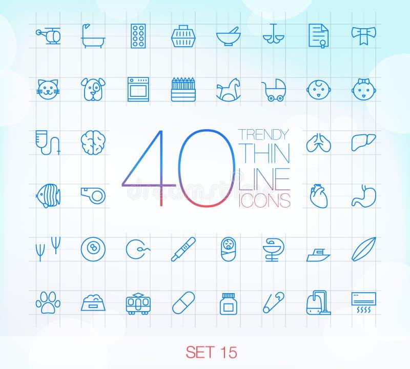 40 icone sottili d'avanguardia hanno messo 15 illustrazione di stock