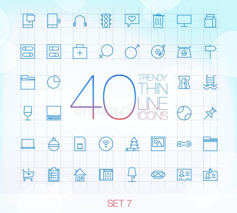 40 icone sottili d'avanguardia per il web ed il cellulare hanno messo 7 illustrazione di stock