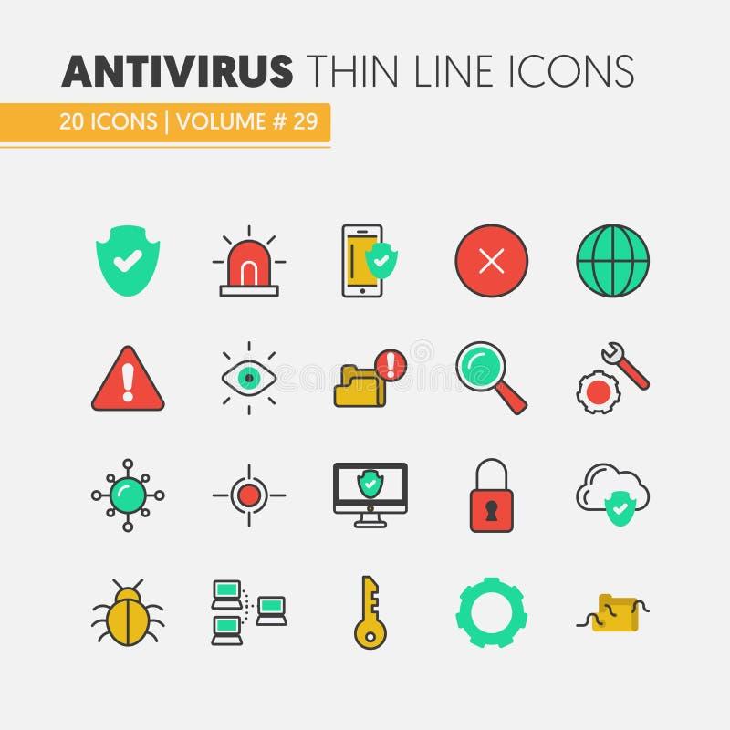 Icone sottili lineari di protezione dei dati di sicurezza di Internet messe con i virus della rete e del computer illustrazione di stock