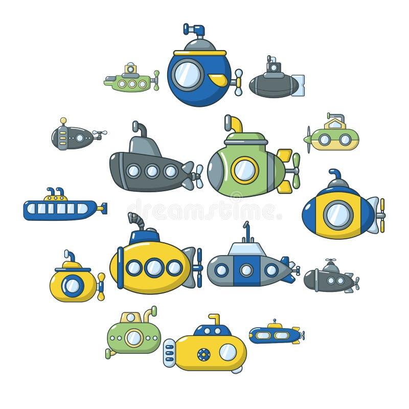 Icone sottomarine messe, stile del fumetto illustrazione di stock