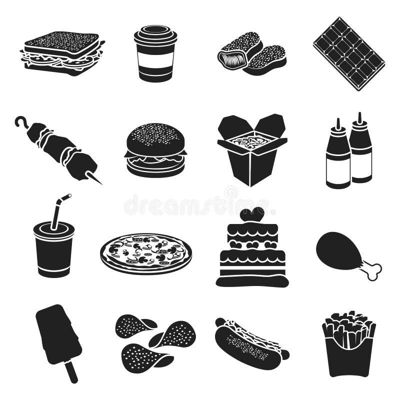 Icone stabilite degli alimenti a rapida preparazione nello stile nero Grande illustrazione delle azione di simbolo di vettore deg illustrazione di stock