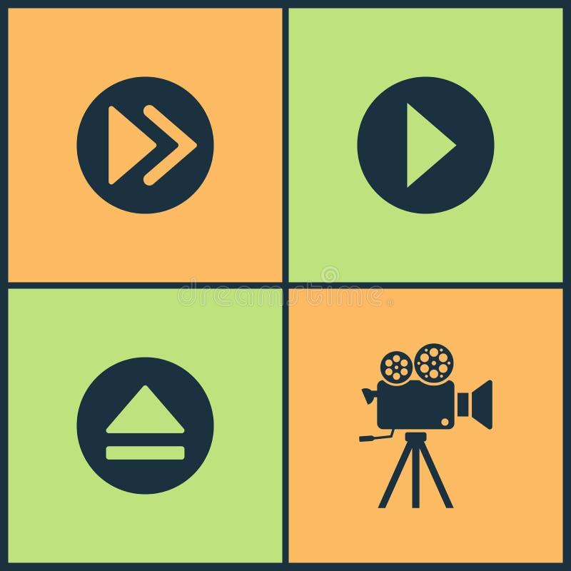 Icone stabilite del cinema dell'illustrazione di vettore Gli elementi della finestra del film o di mezzi, del giocatore, del fest illustrazione vettoriale