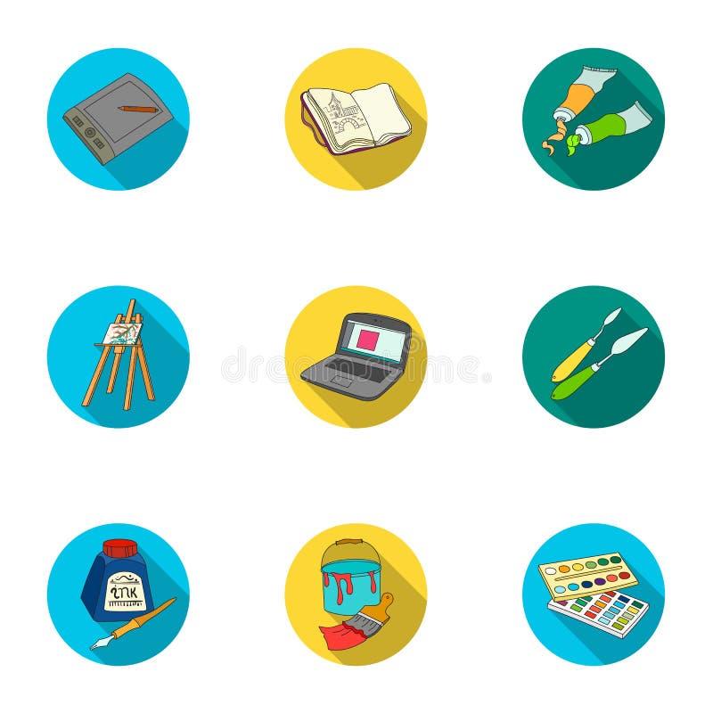 Icone stabilite del disegno e dell'artista nello stile piano La grande raccolta dell'artista ed il disegno vector l'illustrazione royalty illustrazione gratis