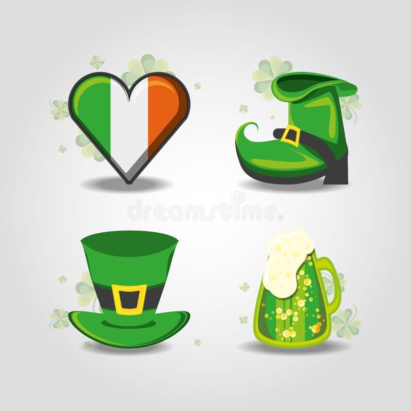 Icone stabilite del giorno di St Patrick royalty illustrazione gratis