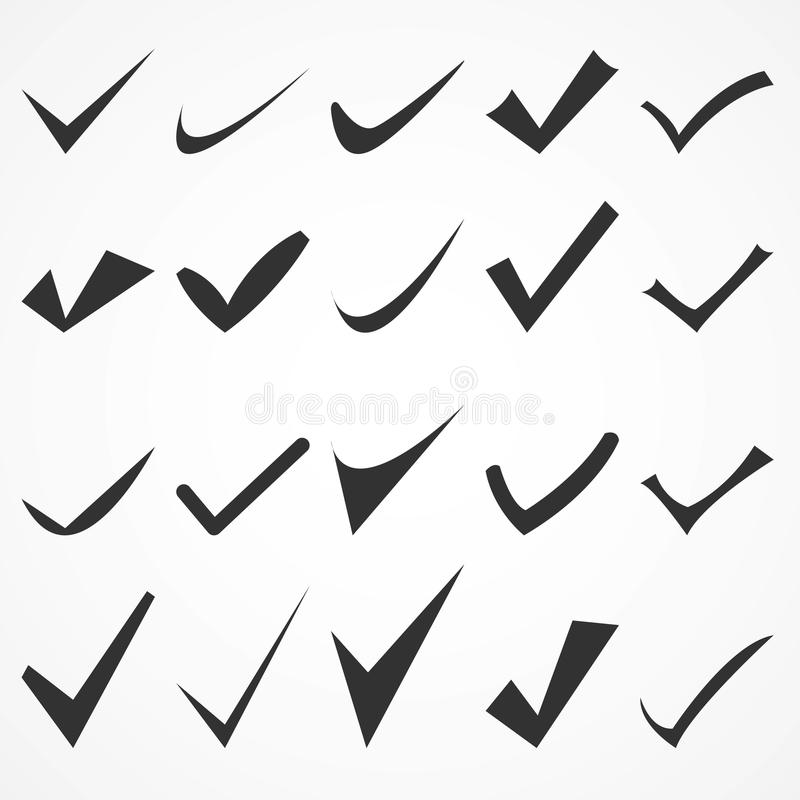 Icone stabilite del segno di spunta isolate su fondo Pittogramma piano moderno, affare, vendita, Internet c illustrazione di stock