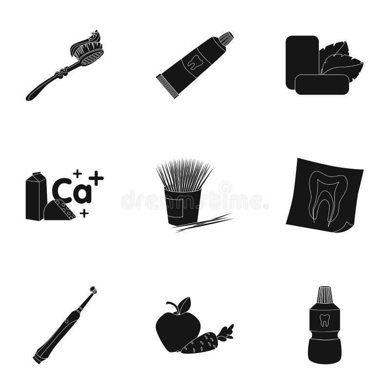 Icone stabilite di cure odontoiatriche nello stile nero Grande raccolta dell'illustrazione delle azione di simbolo di vettore di  illustrazione di stock