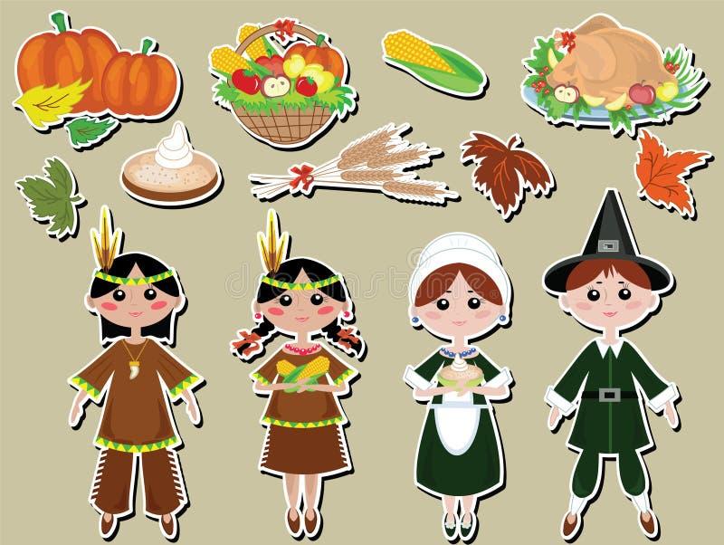 Icone stabilite di giorno di ringraziamento royalty illustrazione gratis