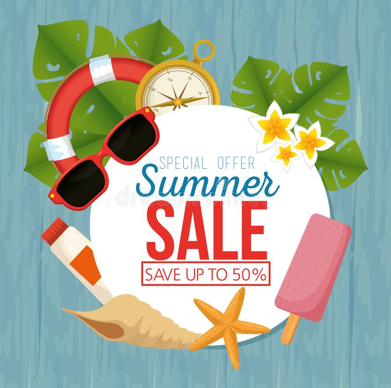 Icone stabilite di vendita di estate royalty illustrazione gratis