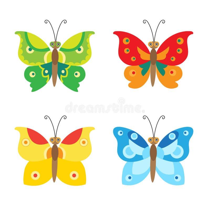 Icone stabilite di vettore della farfalla Insieme della farfalla semplice di volo Farfalla di vettore illustrazione vettoriale