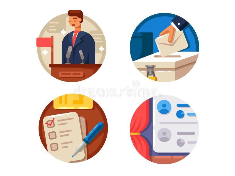 Icone stabilite di voto royalty illustrazione gratis