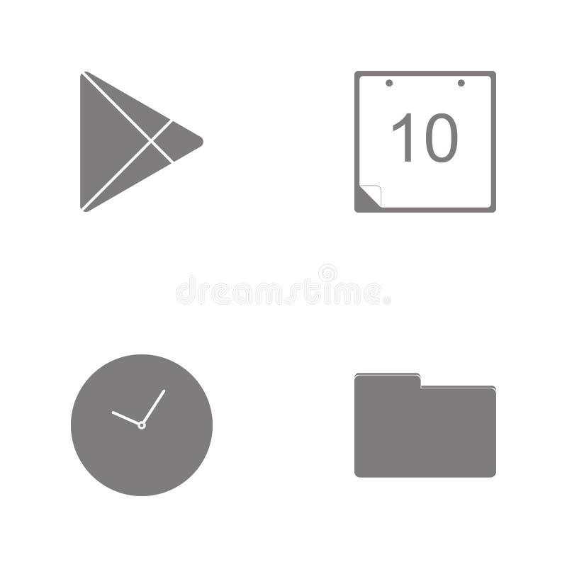 Icone stabilite di web dell'illustrazione di vettore Cartella degli elementi, orologio, marketicon sociale del gioco della comuni illustrazione di stock