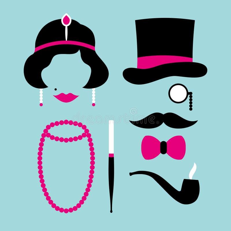 Icone stabilite donna ed anni venti dell'uomo rosa e turchese royalty illustrazione gratis