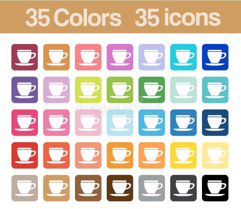 Icone stampabili della tazza di caffè illustrazione di stock