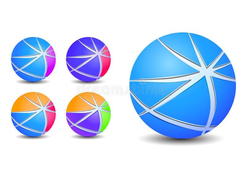 Icone a strisce astratte variopinte delle sfere della sfera illustrazione di stock